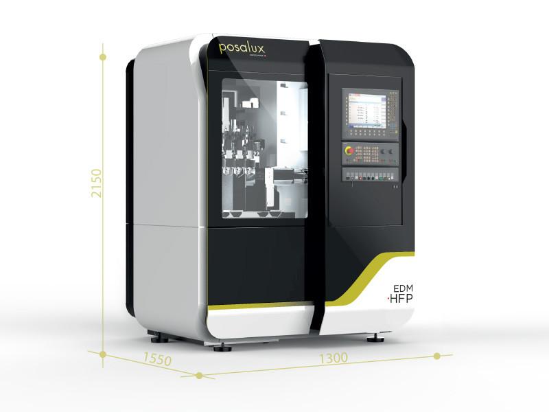 Posalux EDM HFP machine with dimensions